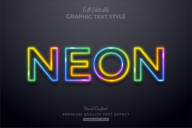 Stile carattere colorato effetto testo modificabile al neon,