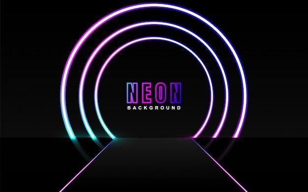 Effetto luce al neon colorato su sfondo scuro