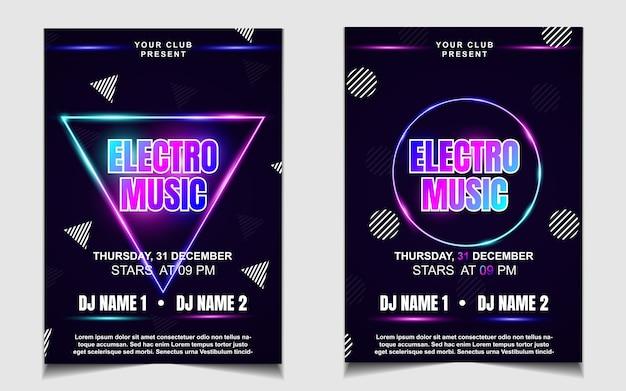 Volantino o poster di musica da ballo notturno colorato con luce al neon