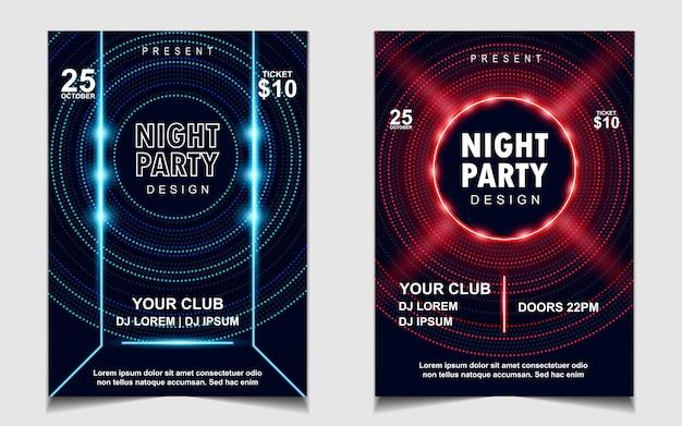 Volantino o poster di musica festa di luci al neon colorate