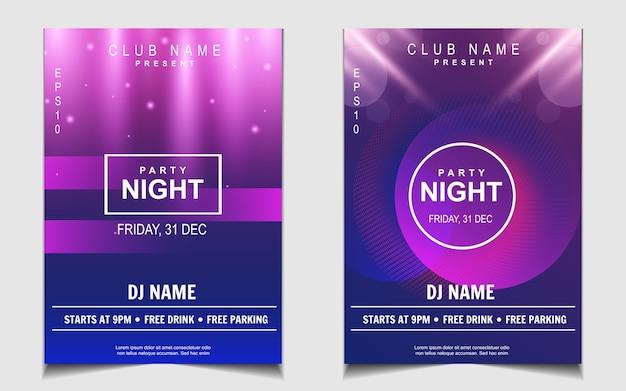 Design di poster di musica festa di luci al neon colorate