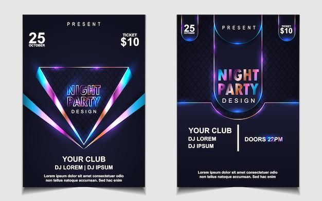 Volantino o poster di musica da ballo notturno colorato