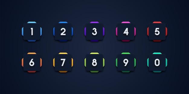Insieme dell'icona di punto elenco numero colorato