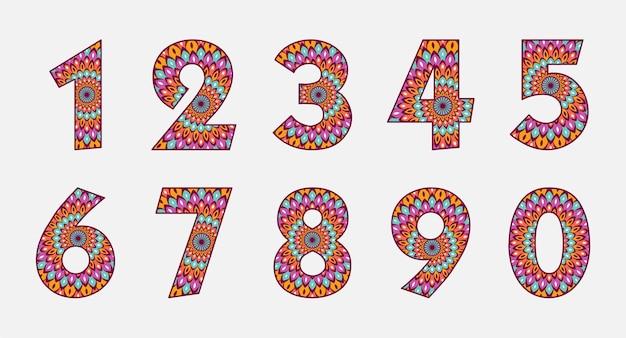 Collezione di numeri colorati con design mandala