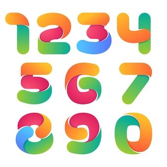 Set di numeri colorati. stile carattere