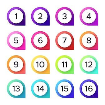 Set di numeri colorati
