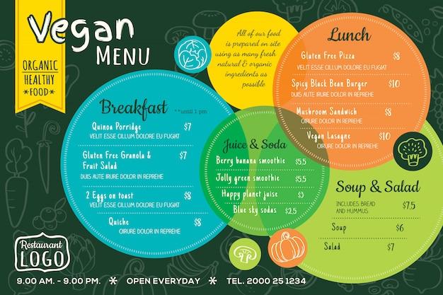 Bordo del menu del ristorante vegano cibo biologico colorato