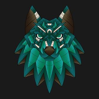 Illustrazione variopinta del lupo dell'ornamento