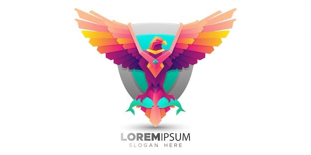 Modello di logo colorato uccello osprey