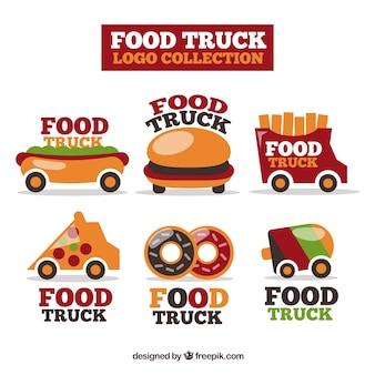 Pacchetto colorato di logos di camion di cibo divertente