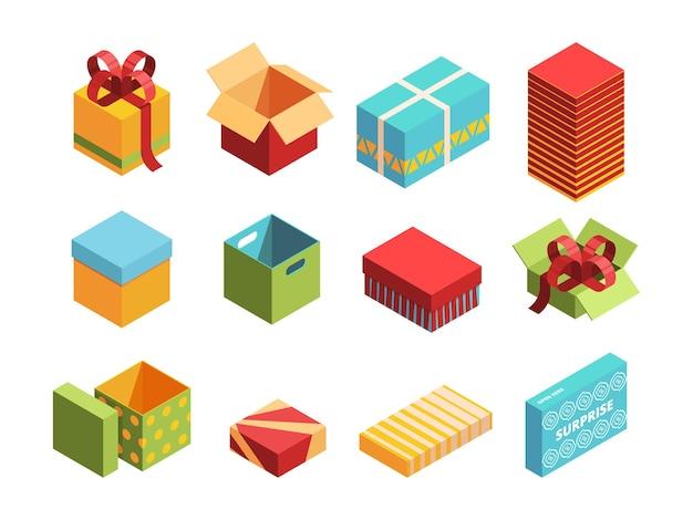 Insieme 3d isometrico di pacchetti colorati. confezione isolata di scatole di natale.