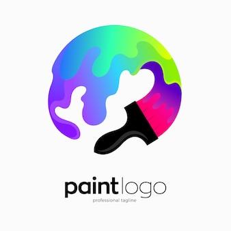 Disegno del logo del pennello colorato