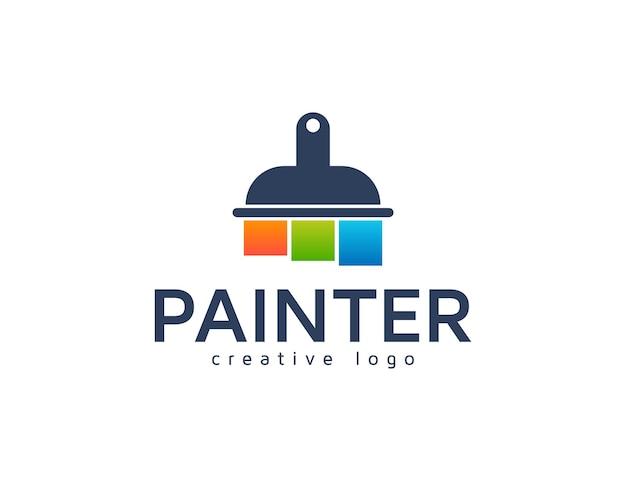 Pennello colorato per il modello di progettazione del logo della vernice