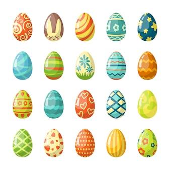Set di illustrazioni piatte di uova di pasqua dipinte colorate
