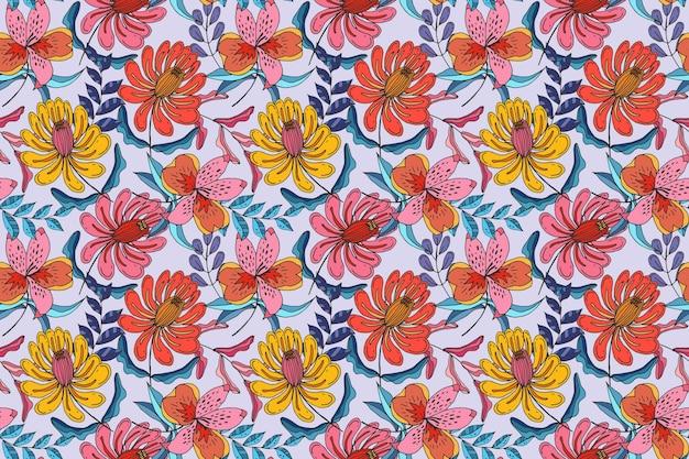 Motivo floreale tropicale dipinto colorato