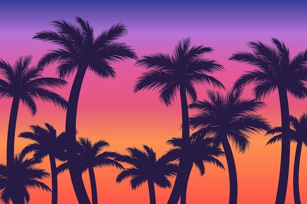 Sfondo di sagome di palme colorate Vettore Premium