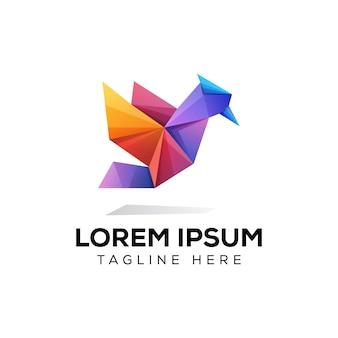Modello di logo di uccello di carta origami uccello colorato
