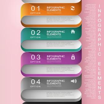 Elementi di infografica del diagramma di flusso astratto moderno di carta colorata