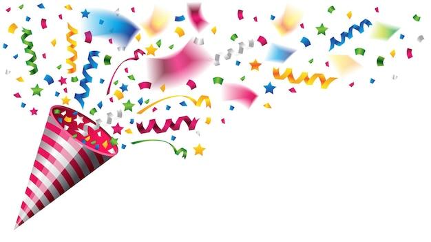 Popper di partito colorato per la celebrazione su sfondo bianco