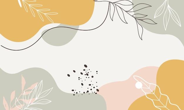 Sfondo minimalista pastello colorato con foglie di linea