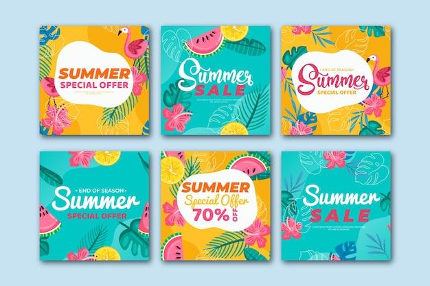 Storia di instagram di saldi estivi con motivo colorato