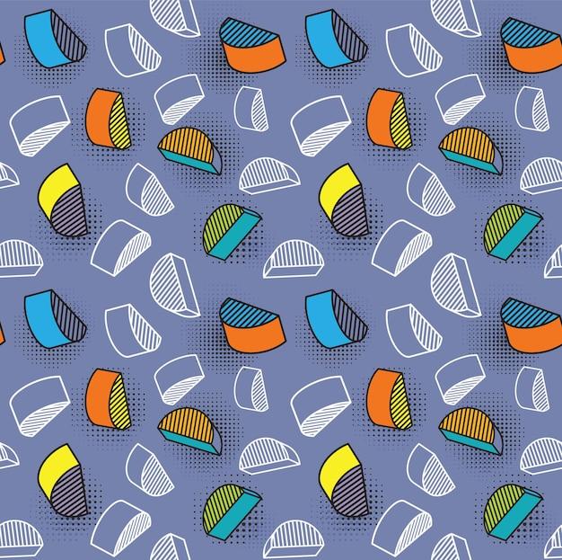 Pattern colorato con elementi grafici 3d.