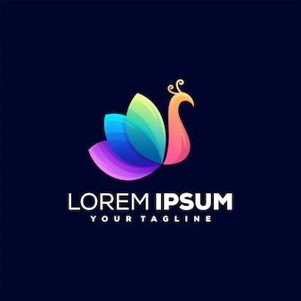 Modello di logo colorato pavone