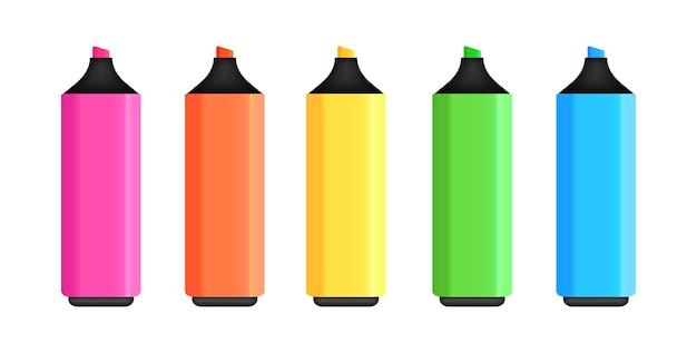 Set di pennarelli colorati evidenziatori realistici per il disegno