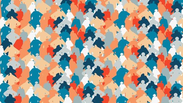 Persone colorate sagome uomini donne in piedi insieme personaggi dei cartoni animati ritratti seamless pattern orizzontale illustrazione vettoriale