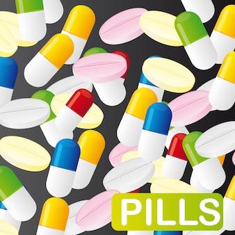 Pillole colorate su sfondo nero illustrazione vettoriale