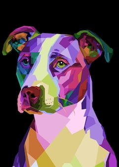 Cane colorato pitbull terrier su pop art geometrico