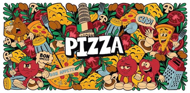 Uno sfondo colorato per pizza in stile cartone animato, questo disegno può essere utilizzato come sfondo per un ristorante