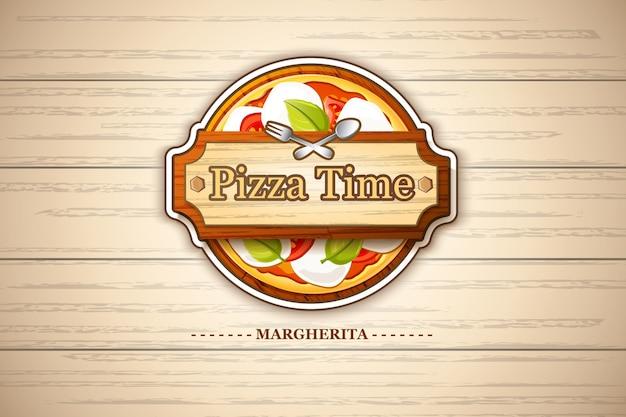 Emblema di pizza margherita colorato con ingredienti di pomodoro e formaggio su illustrazione di legno