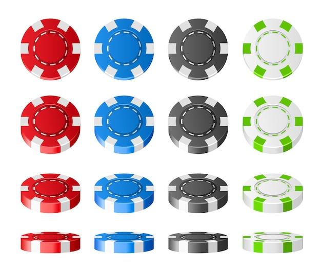 Insieme realistico di fiches da poker in plastica colorata.