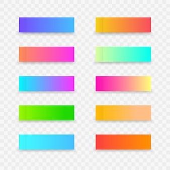 Adesivi colorati per bigliettini. modello di nota colorata adesiva con sfumatura su sfondo trasparente