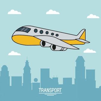 Poster colorato di trasporto aereo con aereo sopra la città