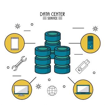 Poster colorato del servizio centro dati con server informatico