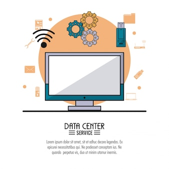 Poster colorato di servizio centro dati con computer desktop