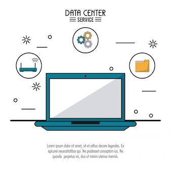 Poster colorato del servizio centro dati con computer portatile