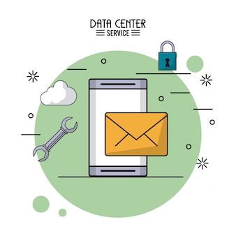 Poster colorato del servizio di data center con smartphone e posta