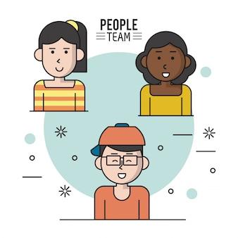 Poster colorato di persone squadra con metà corpo donne e uomo