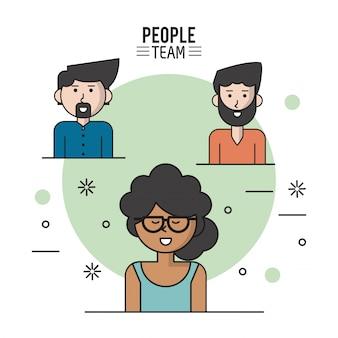 Poster colorato di persone squadra con metà corpo