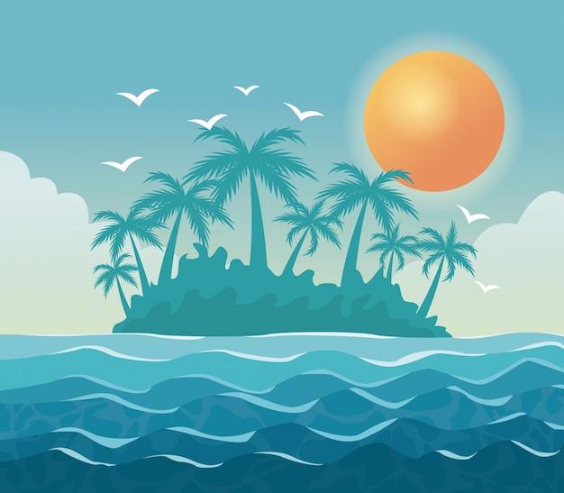 Paesaggio variopinto del cielo del manifesto delle palme sulla spiaggia con il sole nel cielo