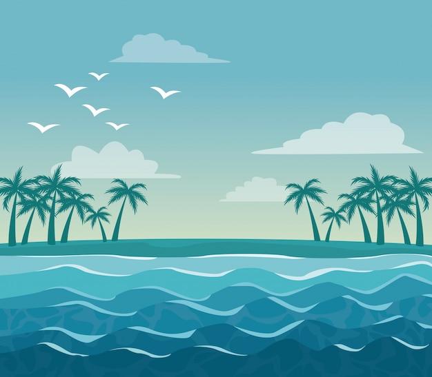 Paesaggio variopinto del cielo del manifesto delle palme sulla spiaggia