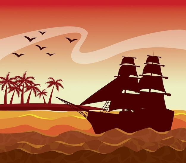 Paesaggio variopinto del cielo di tramonto del manifesto delle palme sulla spiaggia e sulla barca a vela sulle onde