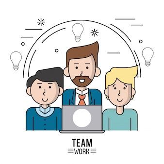 Poster colorato di lavoro di squadra con uomini caucasici metà corpo