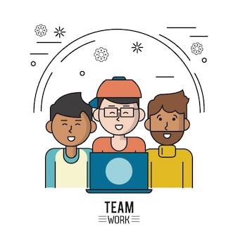 Poster colorato di lavoro di squadra con uomini metà corpo