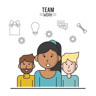 Poster colorato di lavoro di gruppo con donne a metà corpo