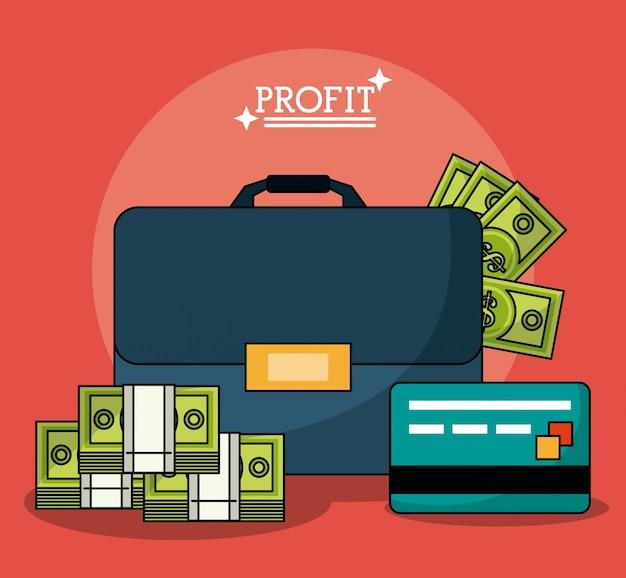 Poster colorato con valigetta soldi di profitto e carta di credito