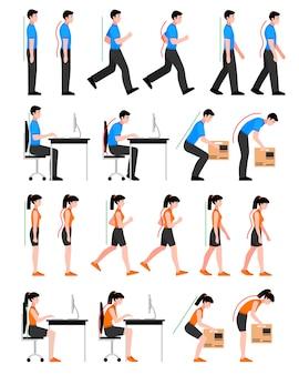 Set di posture colorate